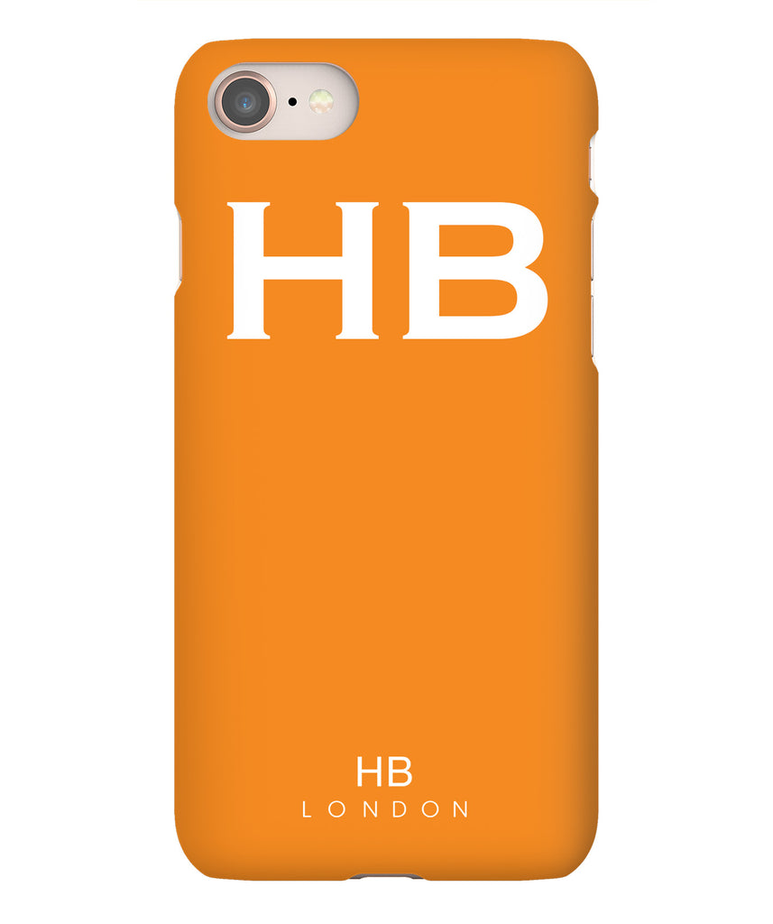 Personalised Orange with White Font Initial Phone Case