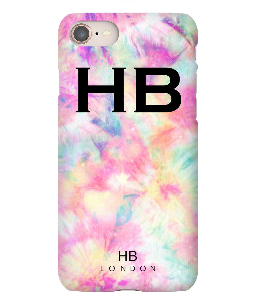 Personalised Pastel Tie Dye with Black Font Initial Phone Case