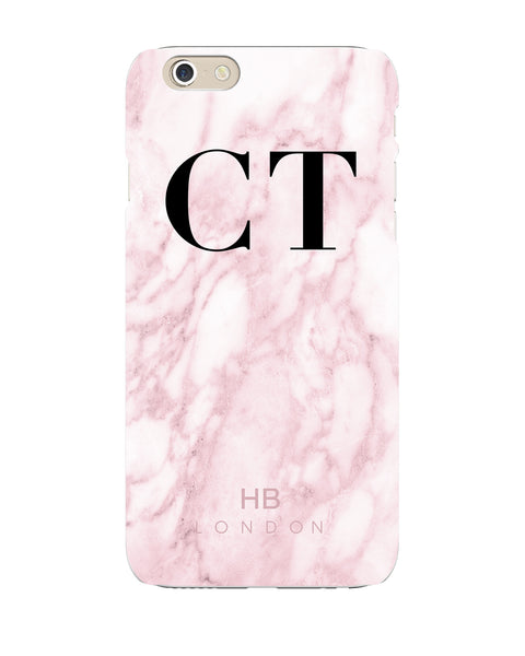 Personalised Pink Marble Initial Phone Case Hb London
