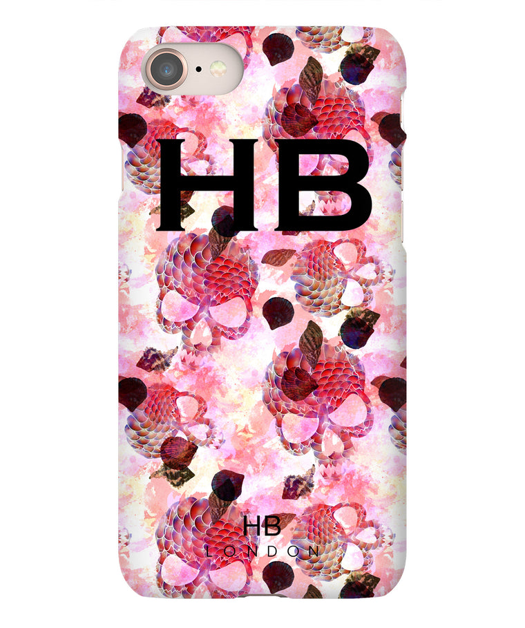Personalised Pink Mermaid Skull Initial Phone Case
