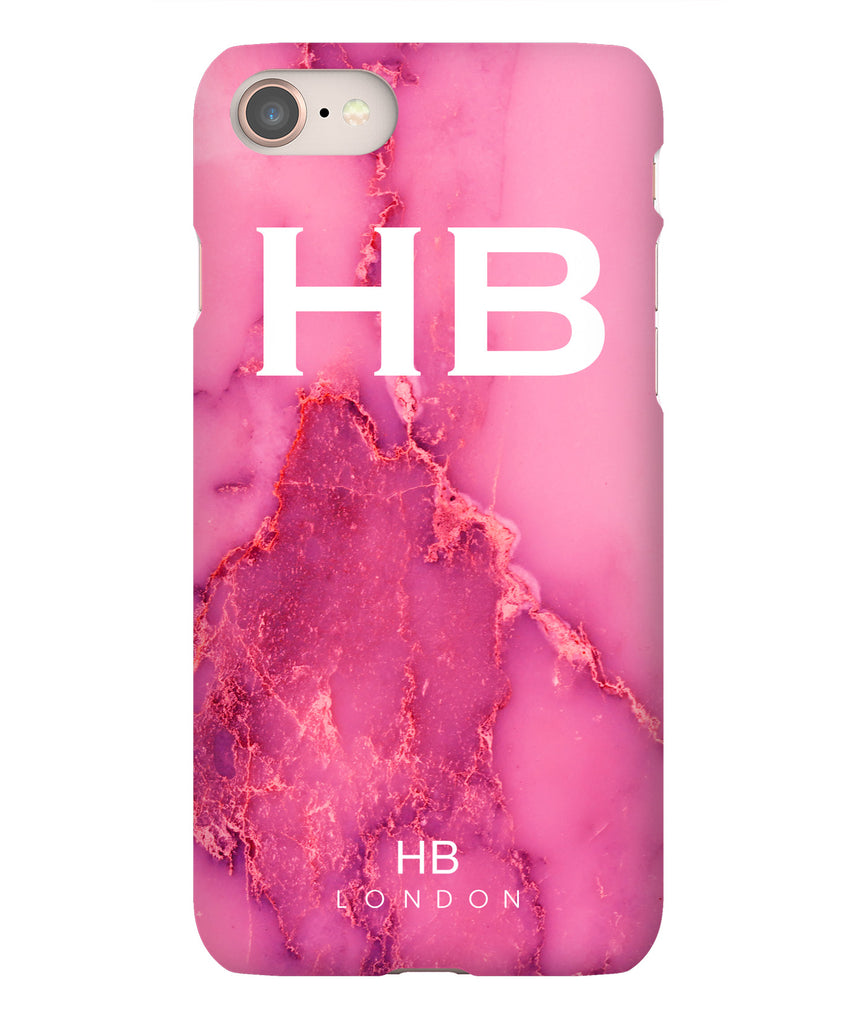 Personalised Pink Natural Marble with White Font Initial Phone Case