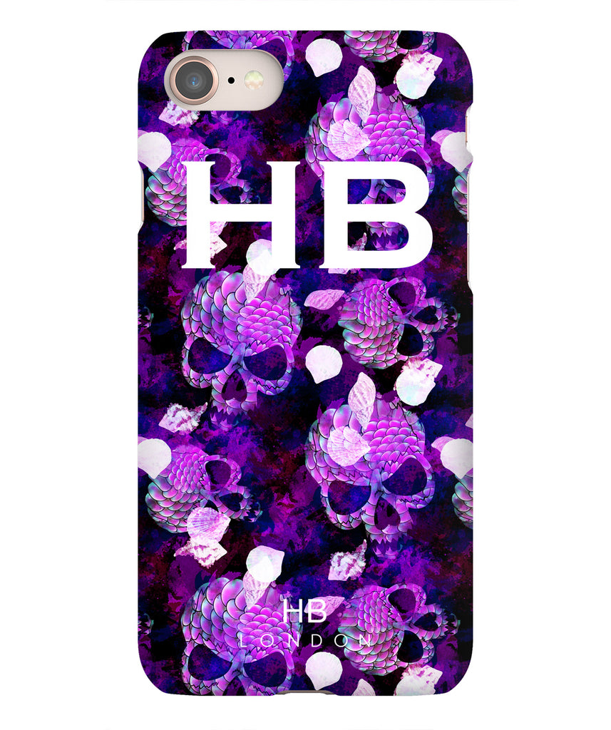 Personalised Purple Mermaid Skull Initial Phone Case