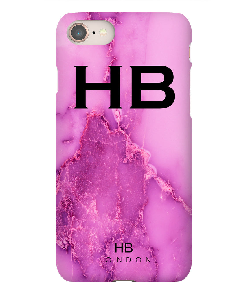 Personalised Purple Natural Marble with Black Font Initial Phone Case