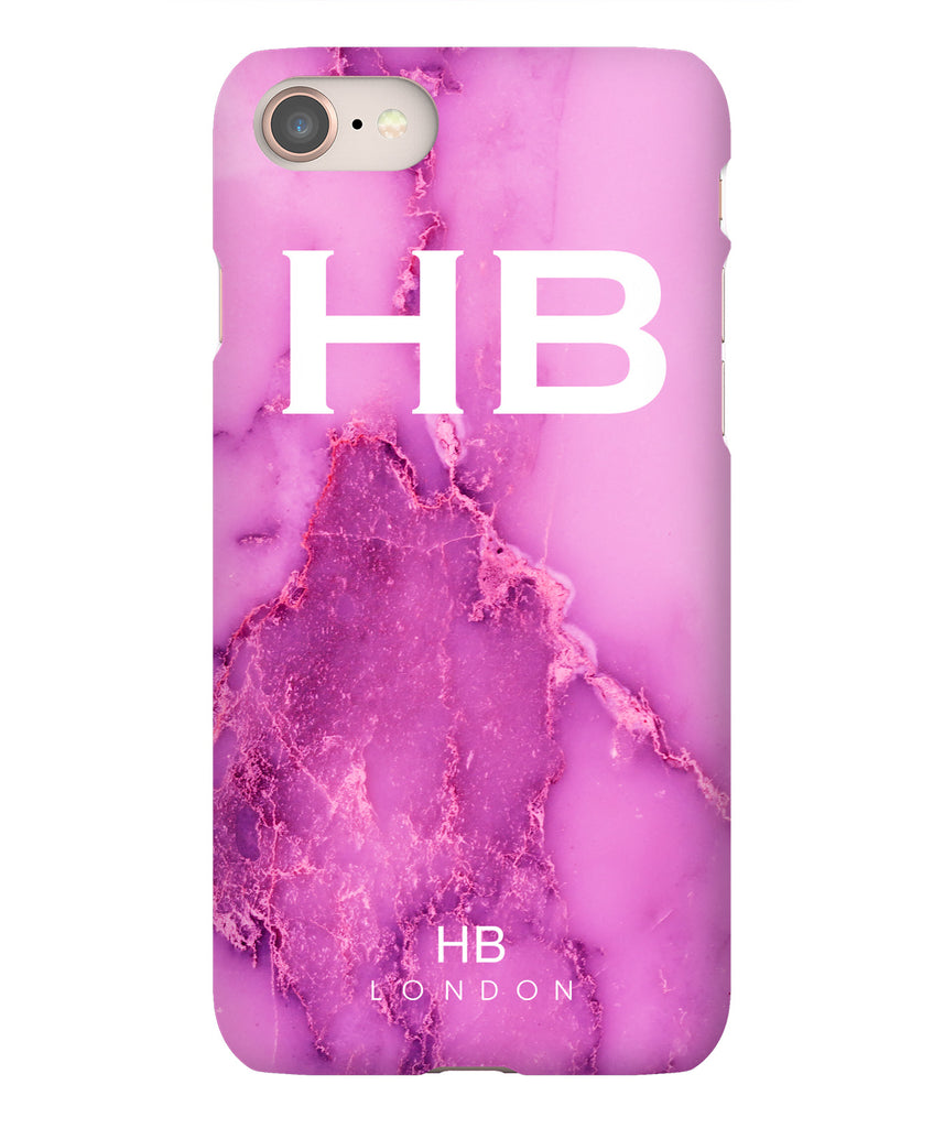 Personalised Purple Natural Marble with White Font Initial Phone Case