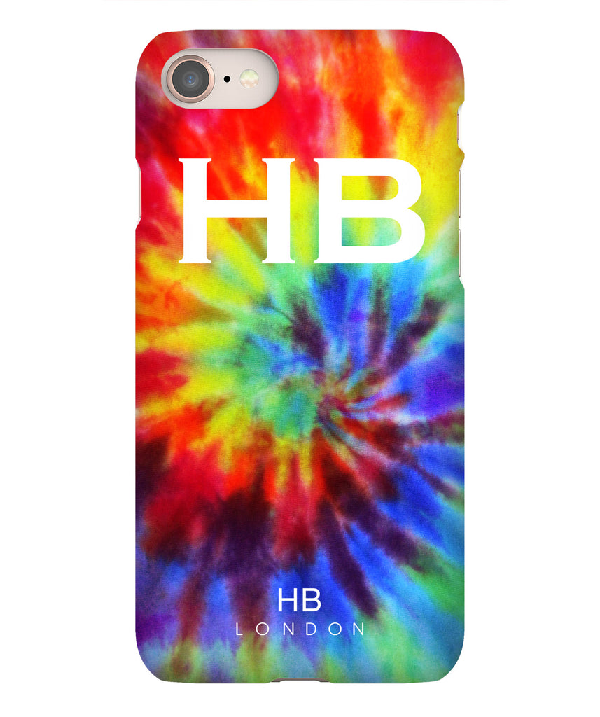 Personalised Rainbow Tie Dye with White Font Initial Phone Case