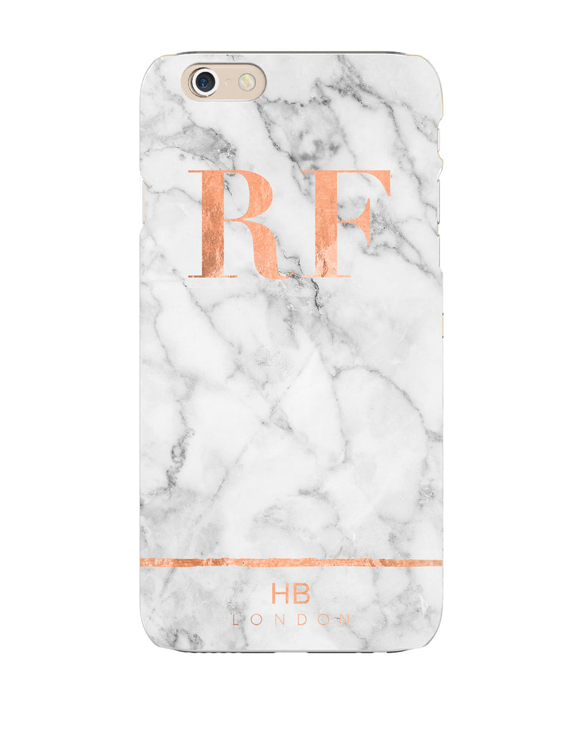 Personalised Rose Gold and Marble Stripe Initial Phone Case
