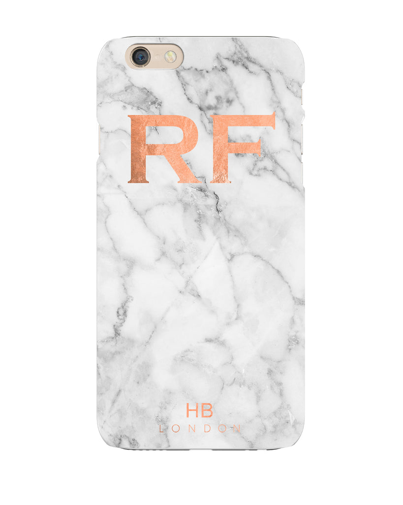 Personalised Rose Gold and Marble Initial Phone Case
