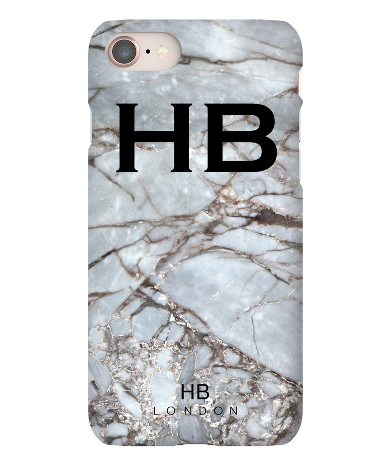 Personalised Silver Grey Shattered Marble Initial Phone Case