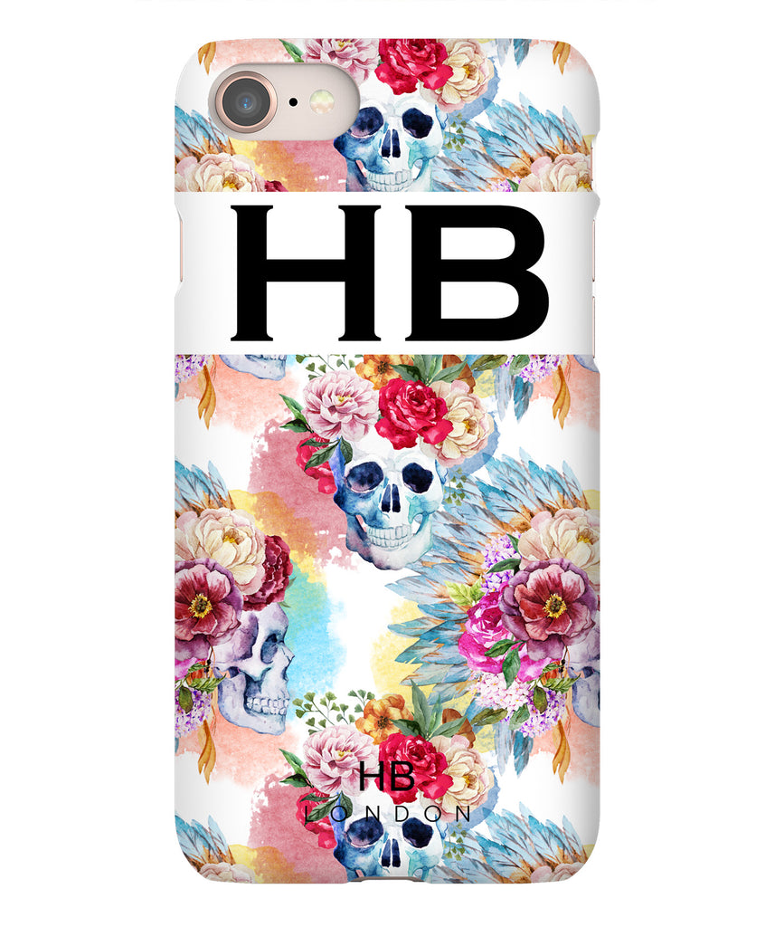 Personalised Skull and Feathers Initial Phone Case