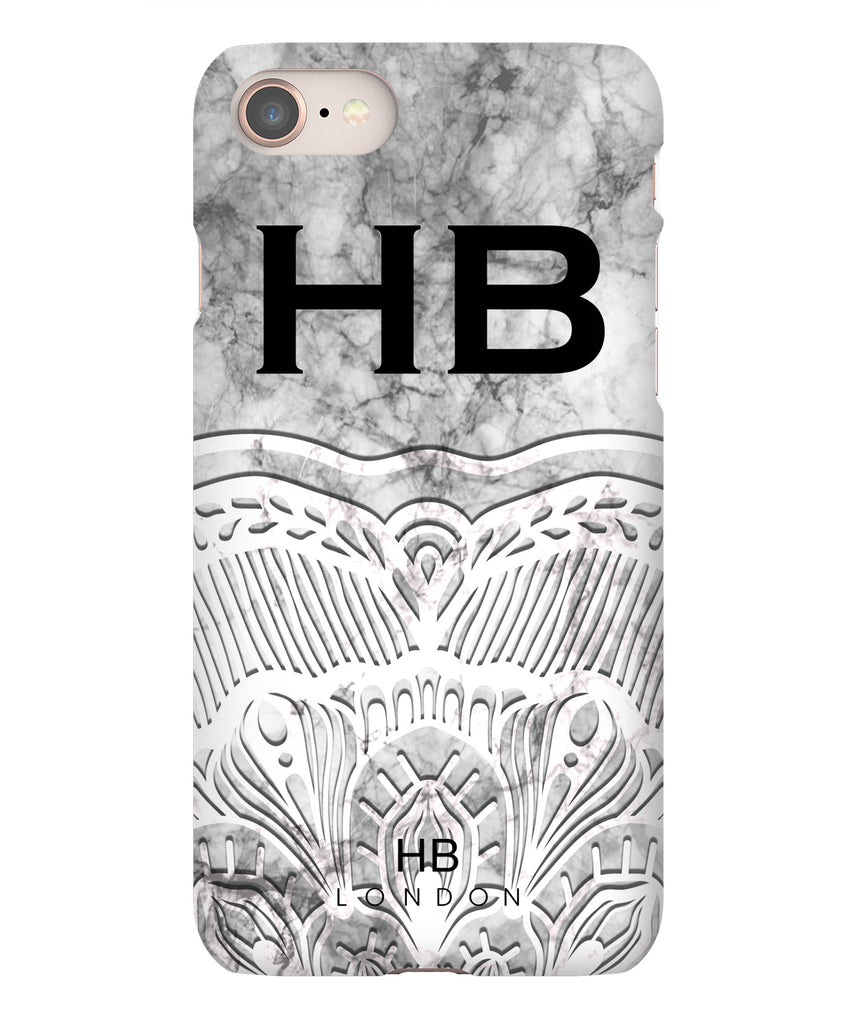 Personalised White Angel Marble with Black Font Initial Phone Case
