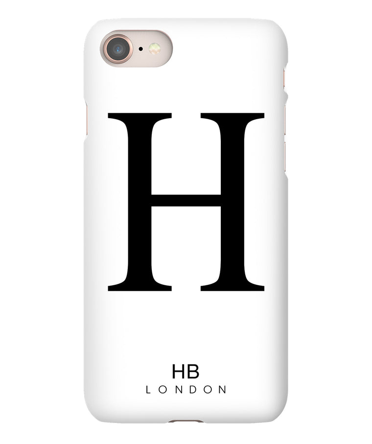 Personalised White Single Initial with Black Font Phone Case