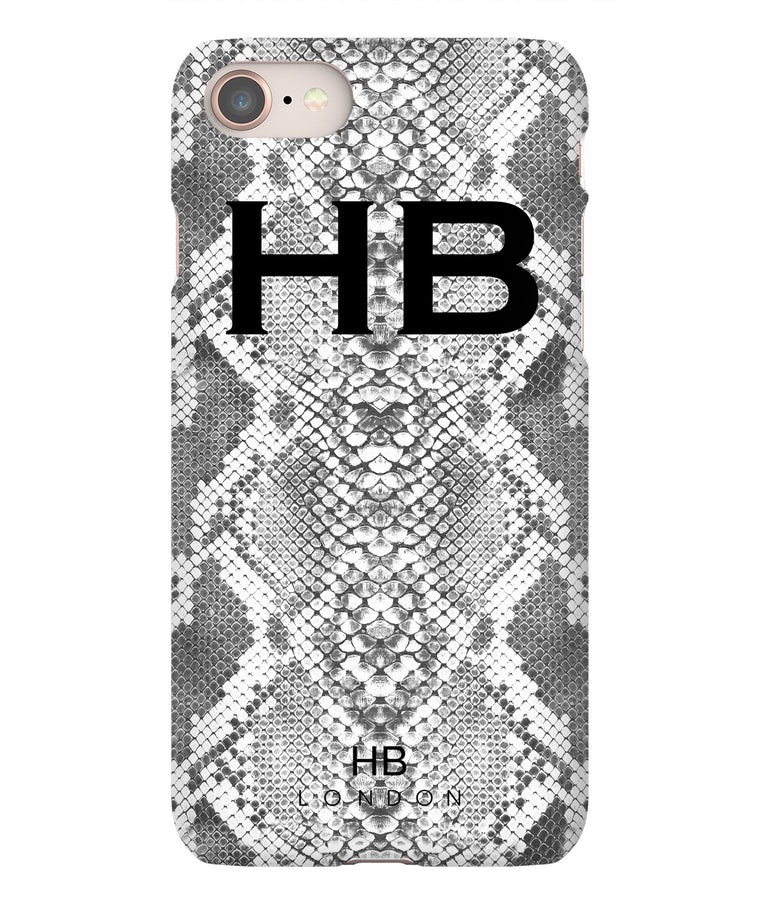 Personalised White Snake Skin Print with Black Font Initial Phone Case