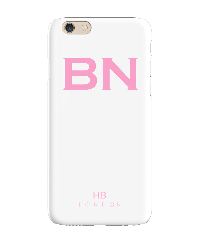 Personalised White with Pink Font Initial Phone Case