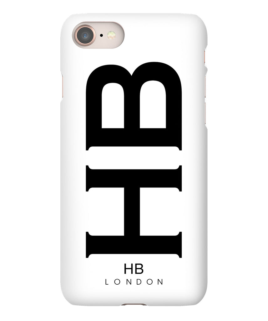 Personalised White XL with Black Font Initial Phone Case