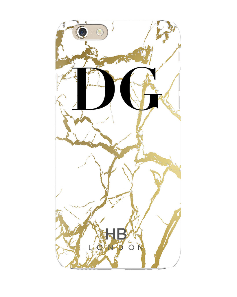 Personalised White and Gold Marble Initial Phone Case