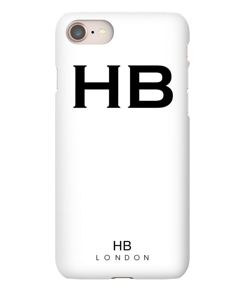 Personalised White with Black Font Initial Phone Case