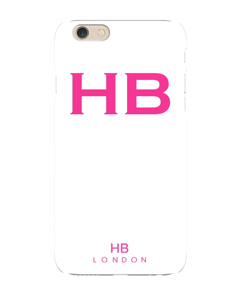 Personalised White with Hot Pink Font Initial Phone Case
