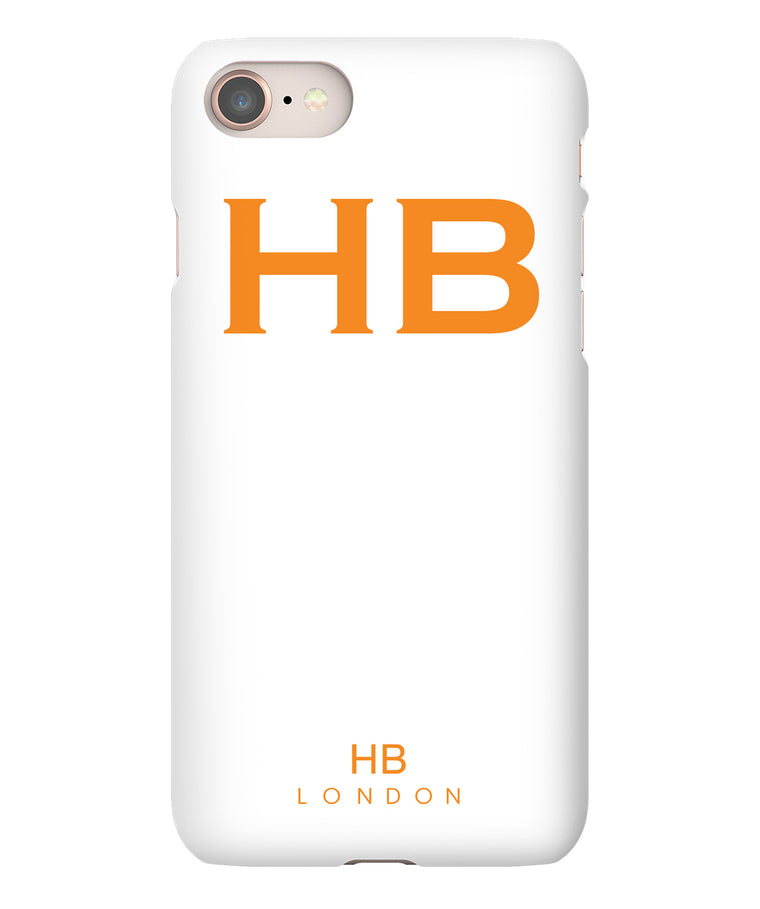 Personalised White with Orange Font Initial Phone Case