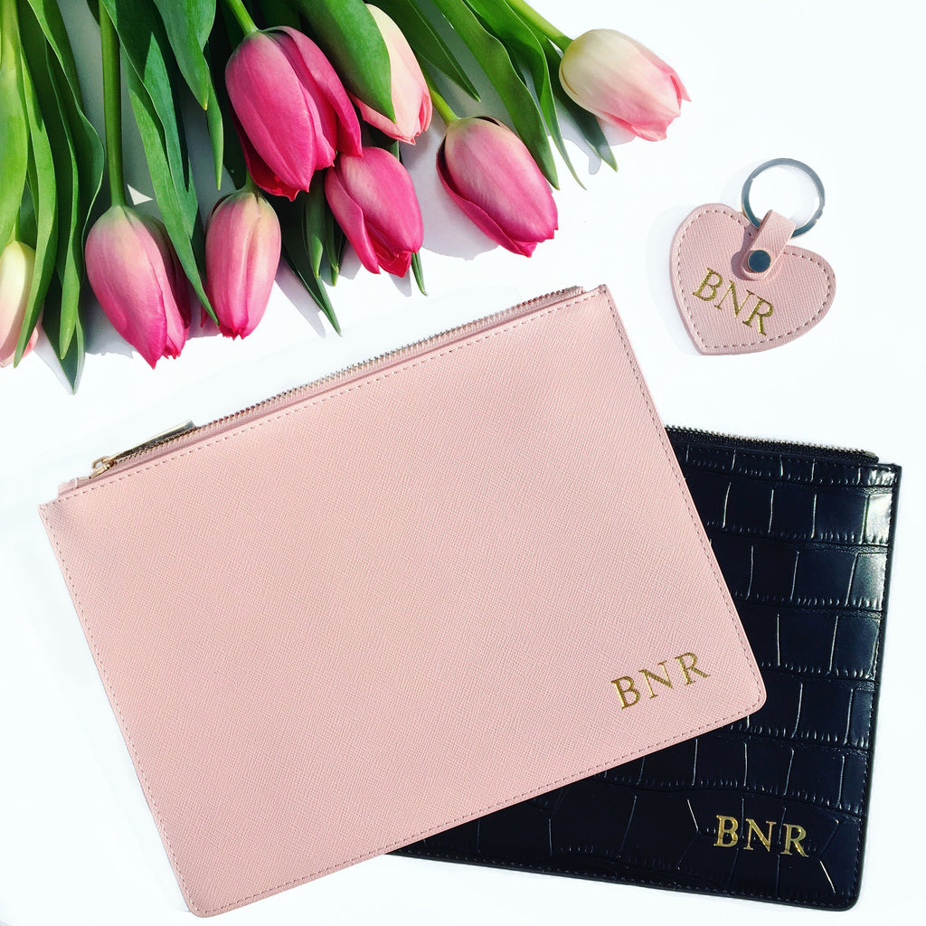 Blush Saffiano Leather Pouch Bag