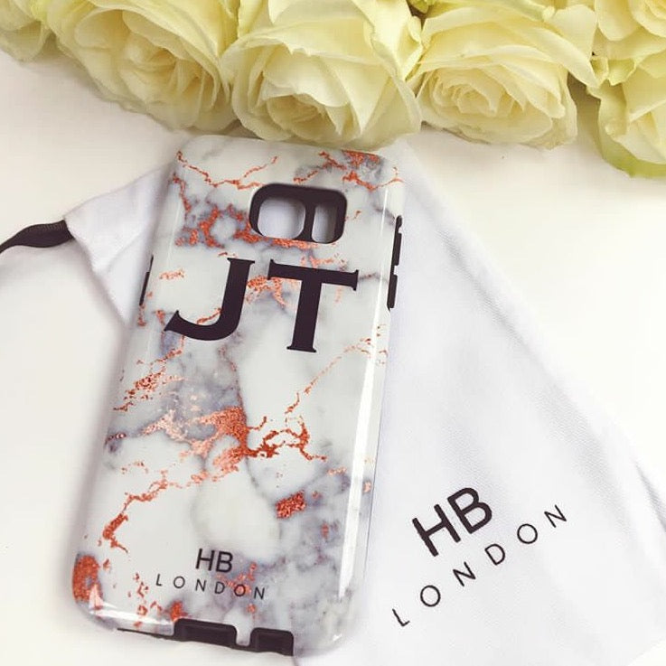Personalised White and Rose Gold Foil Marble Initial Phone Case