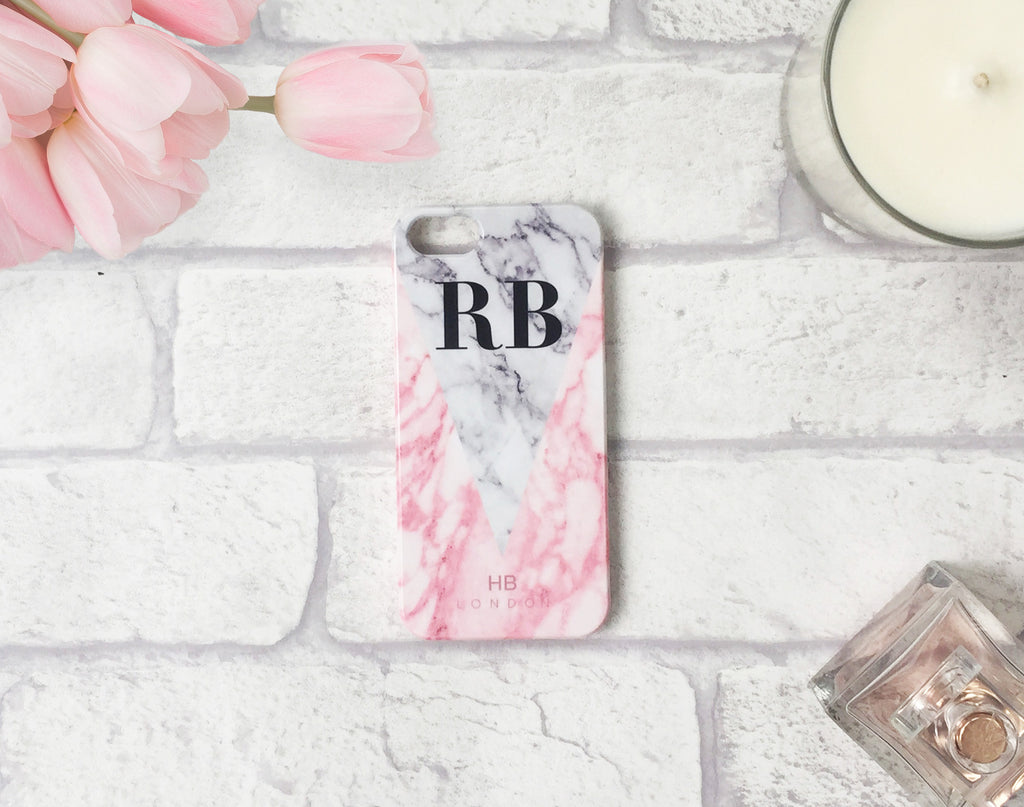Personalised Pink and White Marble Initial Phone Case