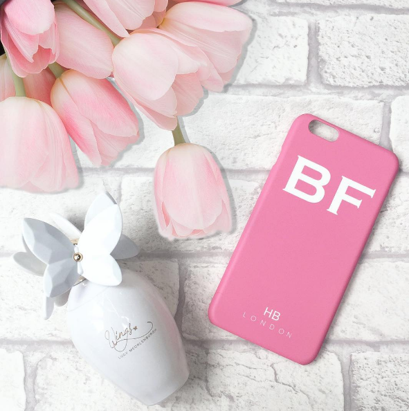 Personalised Pink Initial Phone Case with White Font
