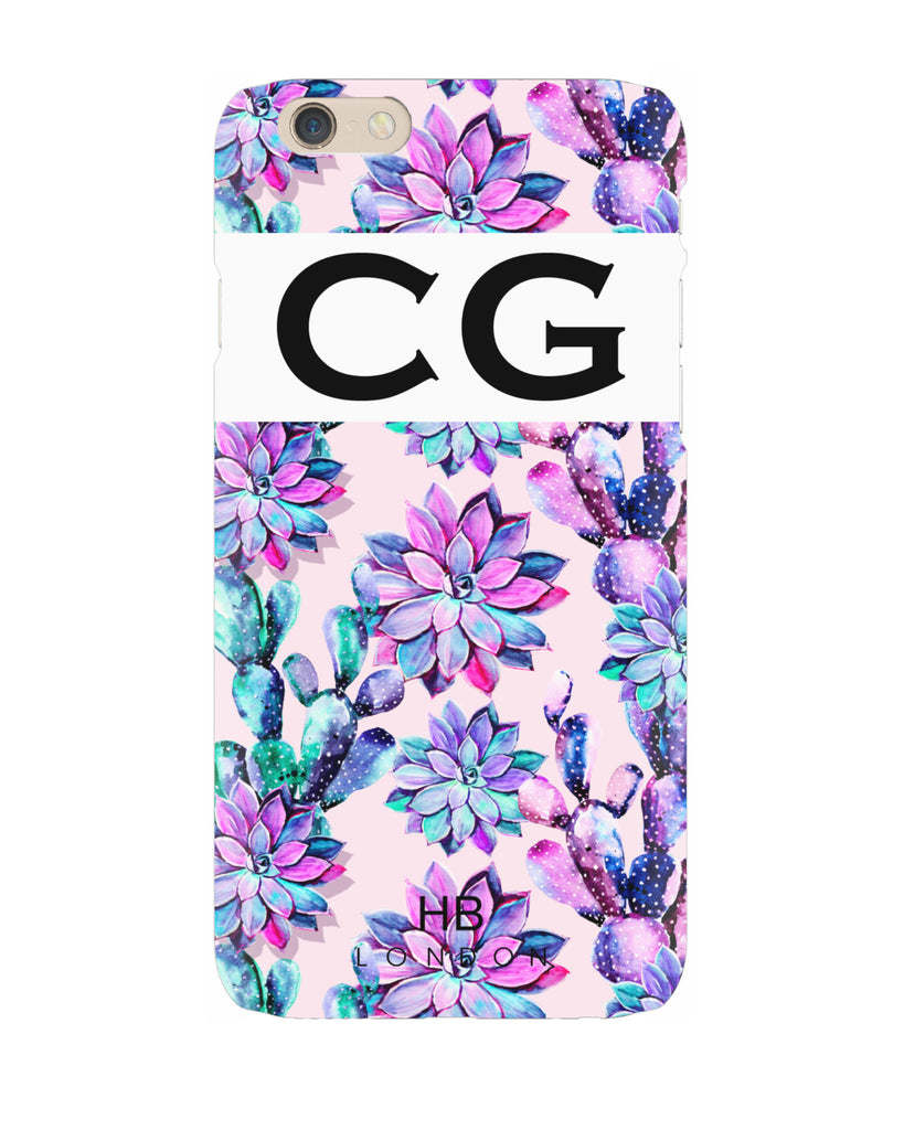 Personalised Purple Watercolour Cactus and Hibiscus Initial Phone Case