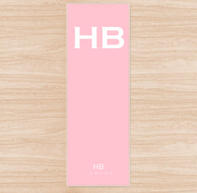 Personalised Blush with White Font Initial Yoga Mat