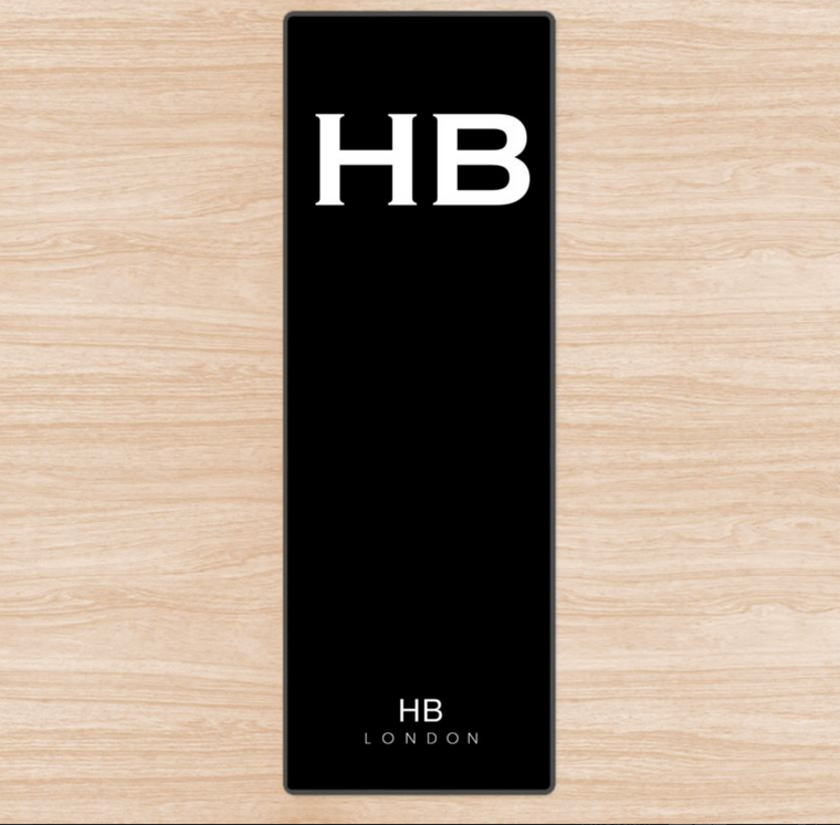 Personalised Black with White Font Initial Yoga Mat