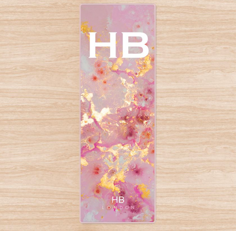 Personalised Pink and Gold Marble with White Font Initial Yoga Mat