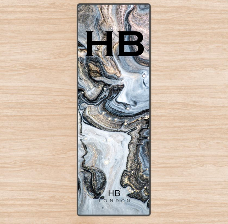 Personalised Charcoal Liquid Marble with Black Font Initial Yoga Mat