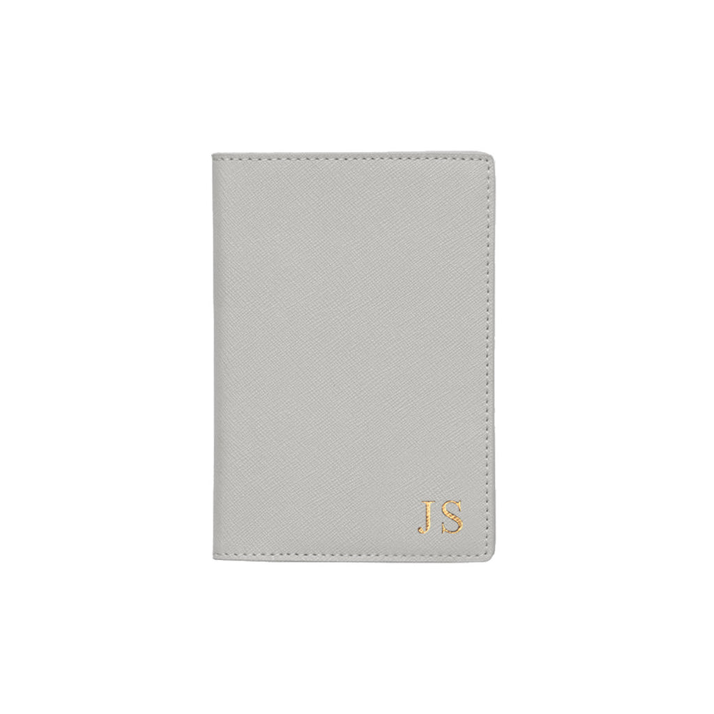 Silver Grey Saffiano Leather Passport Holder
