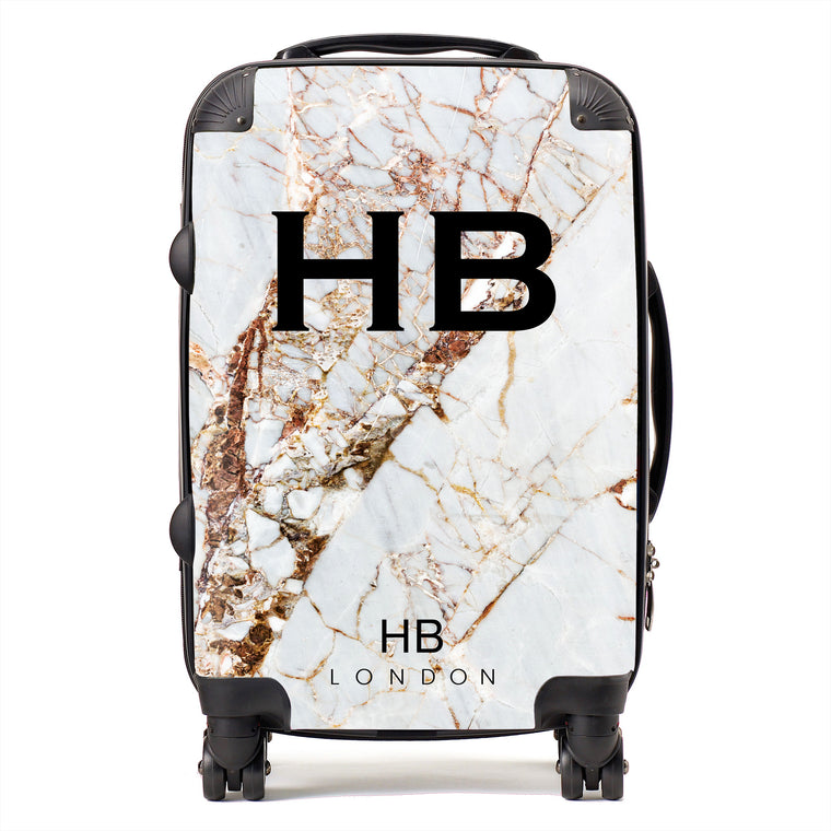 Personalised Natural Cracked Marble Initial Suitcase