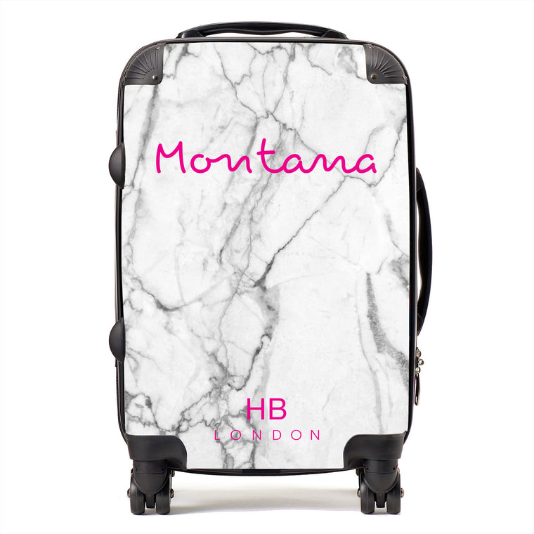 Personalised White Marble Love Script Suitcase