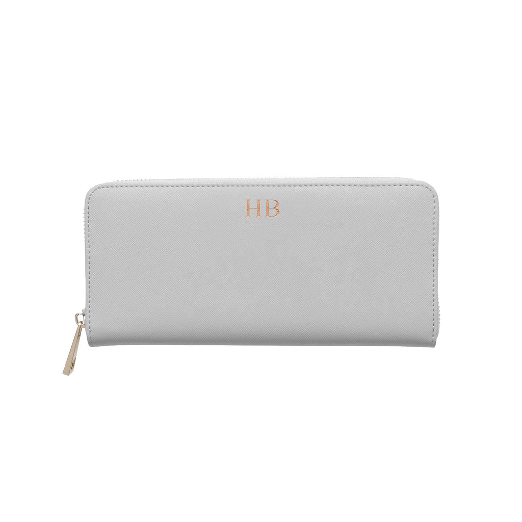Silver/Grey Saffiano Leather Wallet