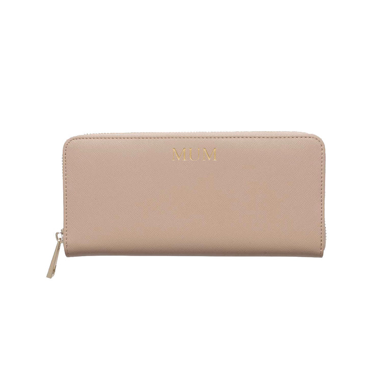 Nude Taupe Saffiano Leather Purse Wallet