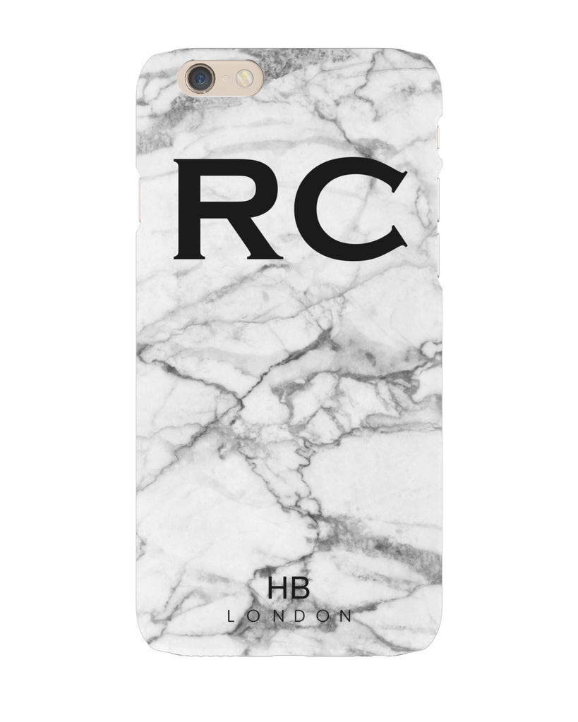 Personalised Grey Natural Marble Initial Phone Case