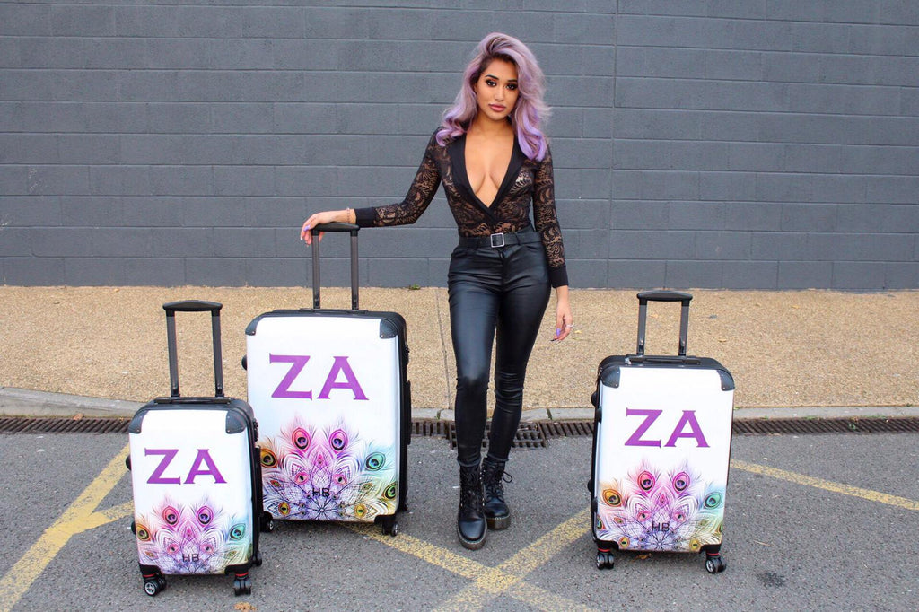 Personalised Peacock Mandala with Purple Font Initial Suitcase