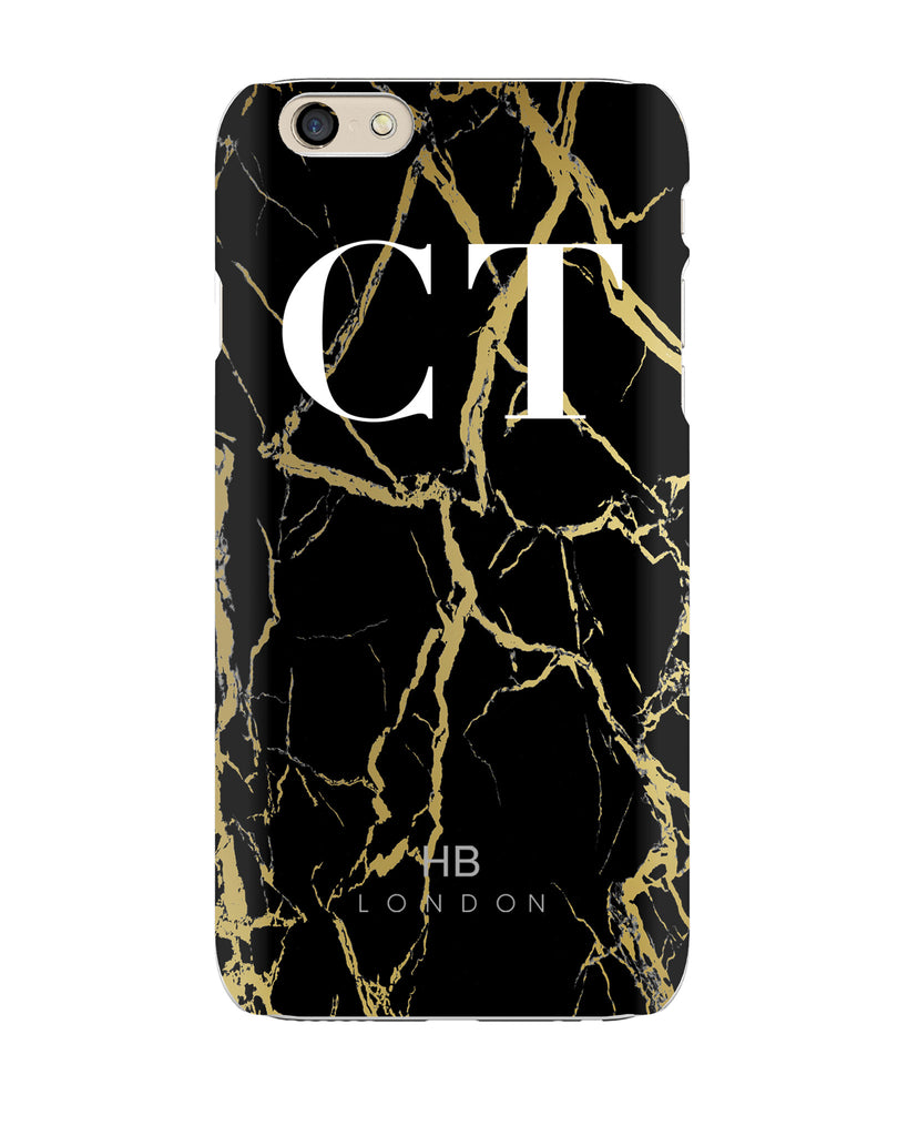 Personalised Black and Gold Marble Initial Phone Case
