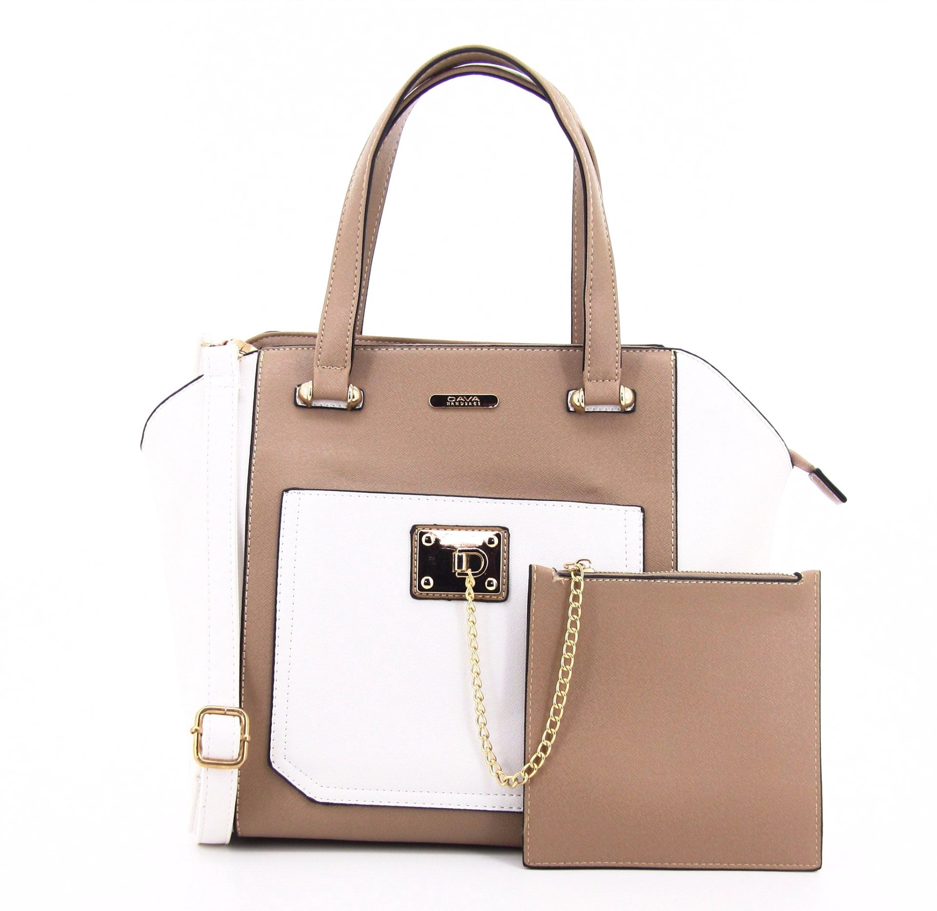 C16MR658TP Chained Zip Pocket Tote (Taupe)