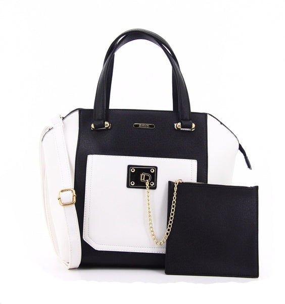 C16MR658BK Chained Zip Pocket Tote (Black)