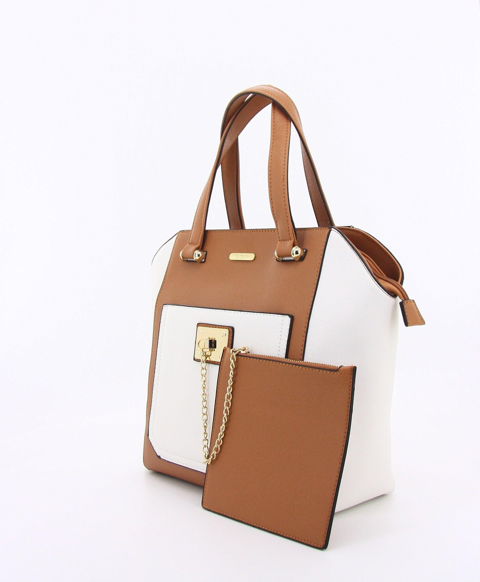 C16MR658TN Chained Zip Pocket Tote (Tan)