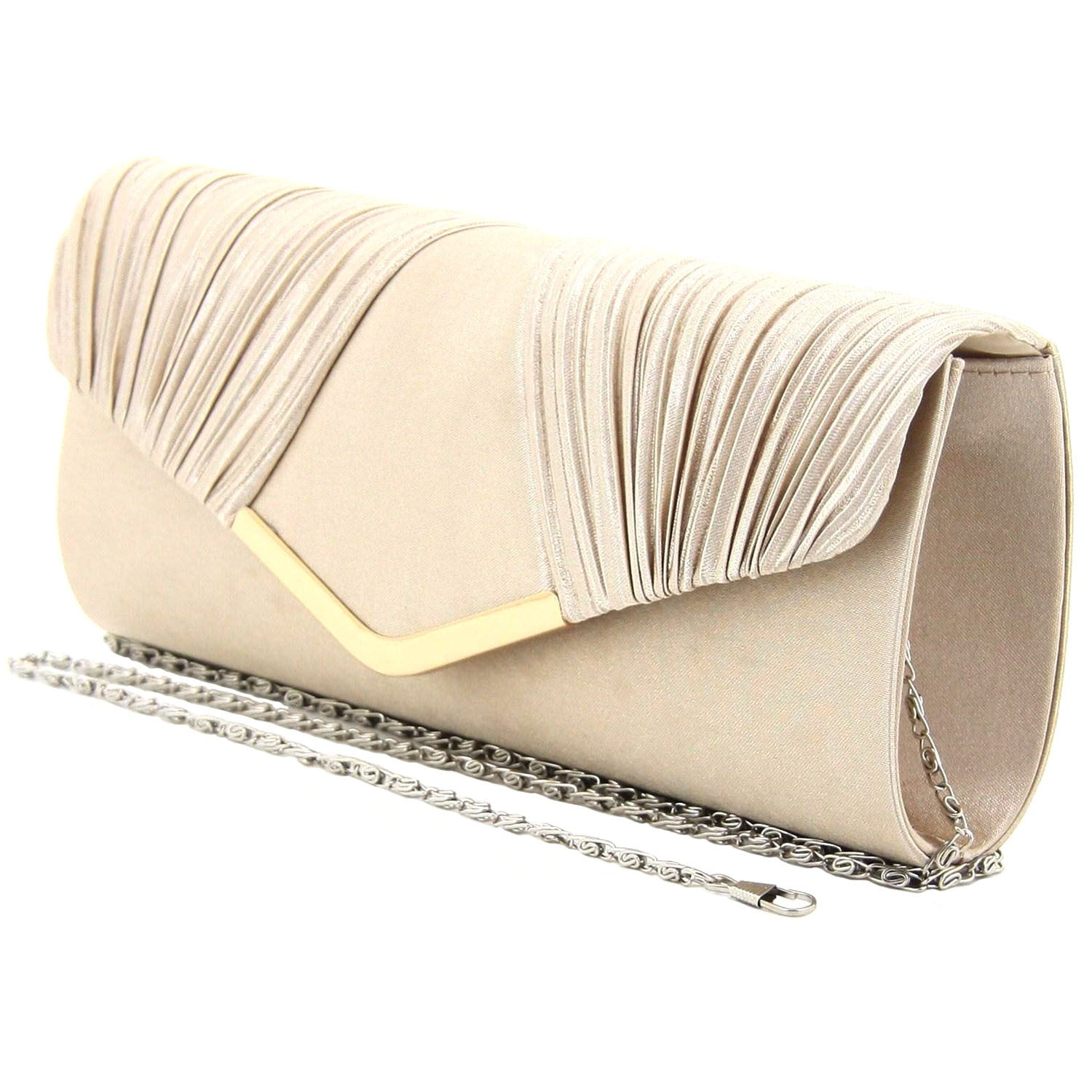 C16JL696GO Nightfall Pleated Clutch (Gold)