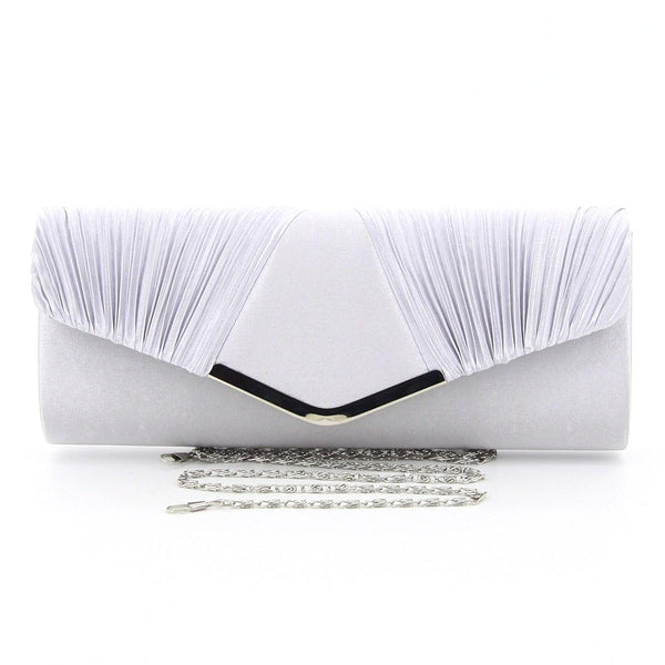 C16JL696SI Nightfall Pleated Clutch (Silver)