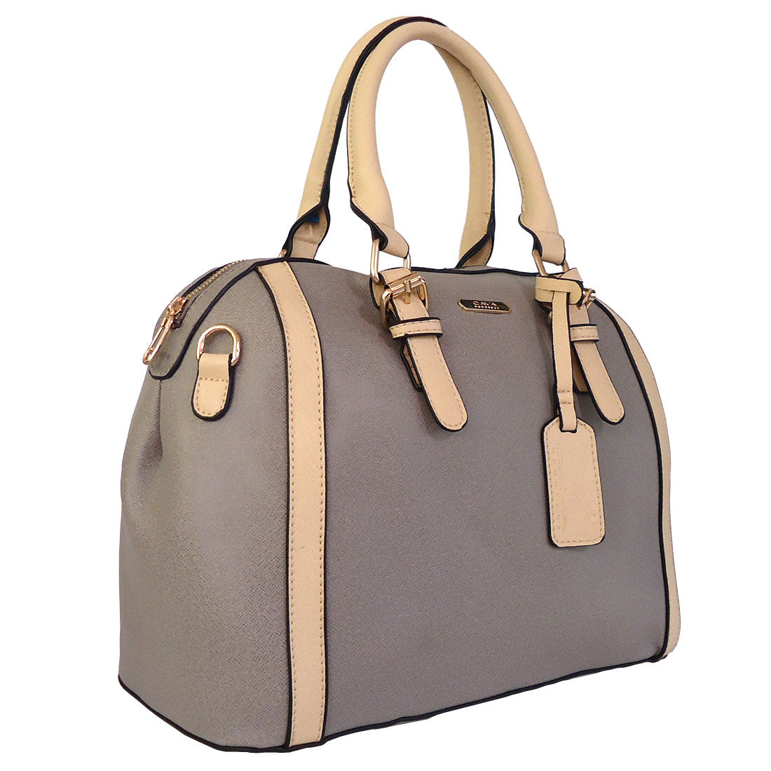 C16MR657GY 2-Tone Saffiano Doctor's Bag (Dark Grey)