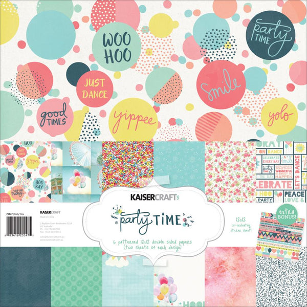 Kaisercraft 12x12 Paper pack and sticker sheet Party time - Memories and Photos