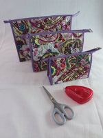 Craft bags - pack of three larger size with zip closure.  Purple Floral