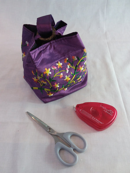 Embroidered silk bag, coconut shell fastening with carry handle - purple and yellow
