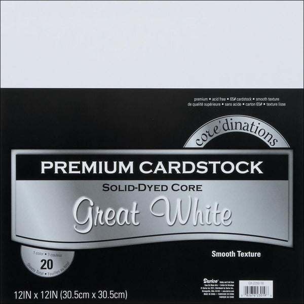 Core'dinations Cardstock Pack. 12x12 White - Memories and Photos