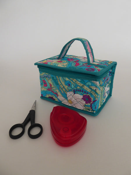 Craft bag - Small Rectangle - Turquoise Floral